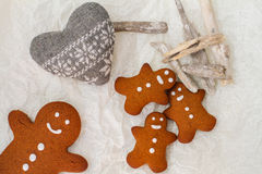 Gingerbread man cookies on the table Stock Photos