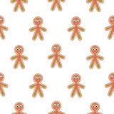Gingerbread man cookies vector seamless pattern. Christmas traditional ginger cookie figures for holiday treat. Xmas biscuit with cream decoration Royalty Free Stock Images