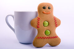 Gingerbread Man and Cup Stock Photos