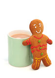 Gingerbread man and a cup of tea Stock Images