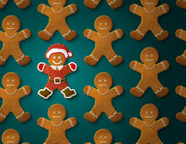 Gingerbread man is decorated in christmas suit Royalty Free Stock Image