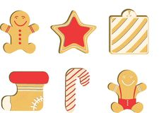 Gingerbread man decorated colored icing. Red glaz. Qualitative vector illustration for new year`s day, christmas, winter Royalty Free Stock Photography