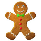 Gingerbread man decorated colored icing. Holiday cookie in shape of man. Qualitative vector (EPS-10) illustration for new years day, christmas, winter holiday Stock Photo
