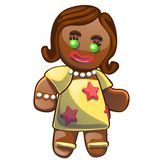 Gingerbread man decorated colored icing isolated on white background. Holiday cookie in shape of girl. Vector cartoon. Close-up illustration royalty free illustration