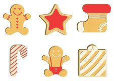 Gingerbread man decorated colored icing. Pink glaze. Qualitative vector illustration for new year`s day, christmas Stock Image