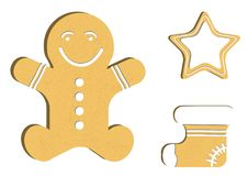 Gingerbread man decorated colored icing. Qualitative vector illustration for new year`s day, christmas, winter holiday Stock Images