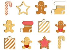 Gingerbread man decorated colored icing. Qualitative vector illustration for new year`s day, christmas, winter holiday. Gingerbread man decorated colored icing Royalty Free Stock Photos