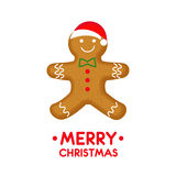 Gingerbread man is decorated colored icing. stock illustration