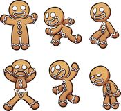 Gingerbread man in different poses. Vector clip art illustration with simple gradients. Each on a separate layer stock illustration