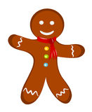 Gingerbread man dressed. Happy cheerful gingerbread man with red scarf. Christmas illustration stock illustration