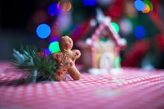 Gingerbread man in front of his candy ginger house Stock Photos