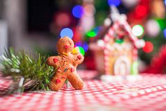 Gingerbread man in front of his candy ginger house. Background the Christmas tree lights. See my other works in portfolio royalty free stock photography