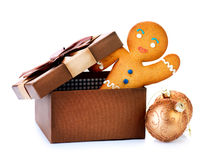 Gingerbread Man in Gift Box stock images