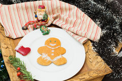 Gingerbread man. Gingerbread cookie man on festive table Stock Photos