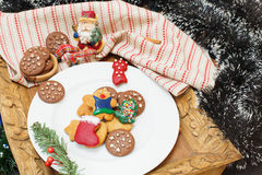 Gingerbread man. Gingerbread cookie man on festive table Royalty Free Stock Photo