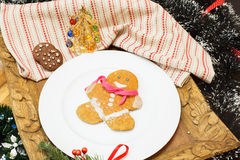 Gingerbread man. Gingerbread cookie man on festive table Stock Image