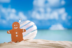 Gingerbread man and glass balll on beach with seascape backgroun Stock Photography