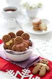 Gingerbread Man. A group of Gingerbread Man sitting inside a bowl celebrating christmas Stock Photos