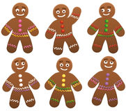 Gingerbread Man Group. Vector illustration on white background Stock Photo