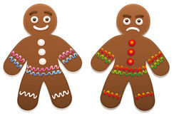 Gingerbread Man Happy Angry. Gingerbread man - one is happy, the other is angry royalty free illustration