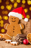 Gingerbread man with a hat and christmas decorations Stock Images