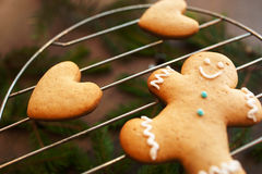 Gingerbread man and heart close-up, xmas cookies Stock Image