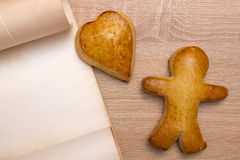 Gingerbread man with heart Stock Photography