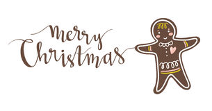 Gingerbread man holiday sweet cookie and Christmas lettering. Vector isolated illustration. Stock Image