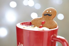Gingerbread man in hot chocolate Royalty Free Stock Image