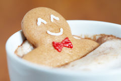 Gingerbread man in hot chocolate Stock Photo
