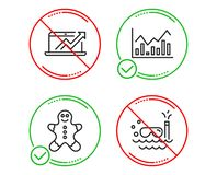 Gingerbread man, Infochart and Sales diagram icons set. Scuba diving sign. Vector. Do or Stop. Gingerbread man, Infochart and Sales diagram icons simple set royalty free illustration