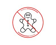 Gingerbread man line icon. Ginger cookie sign. Vector. No or stop sign. Gingerbread man line icon. Ginger cookie sign. Sweet holiday food symbol. Caution vector illustration