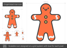 Gingerbread man line icon. Gingerbread man vector line icon isolated on white background. Gingerbread man line icon for infographic, website or app. Scalable royalty free illustration
