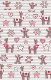 Gingerbread man and llamas seamless vector pattern on stripes background. Cute vector background for New Years day stock illustration