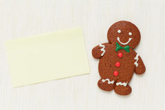 Gingerbread Man with memo paper Royalty Free Stock Image