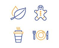 Gingerbread man, Mint leaves and Takeaway icons set. Food sign. Vector. Gingerbread man, Mint leaves and Takeaway icons simple set. Food sign. Christmas cookie royalty free illustration