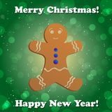 Gingerbread man.  New Year greeting card. Congratulations On Christmas. Royalty Free Stock Photography