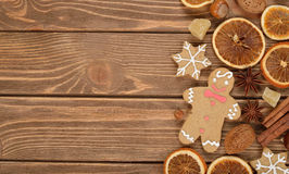 Gingerbread man, nuts and spices Royalty Free Stock Photography