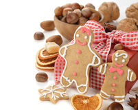 Gingerbread man, nuts and spices Royalty Free Stock Photos