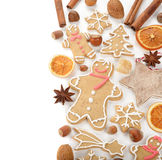 Gingerbread man, nuts and spices Royalty Free Stock Images