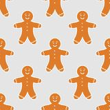 Gingerbread man pattern. Gingerbread man seamless pattern. Christmas vector illustration royalty free illustration