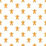 Gingerbread man pattern. Seamless repeat in cartoon style vector illustration stock illustration
