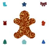 Gingerbread Man pattern silhouette christmas holiday. Vector illustration royalty free illustration