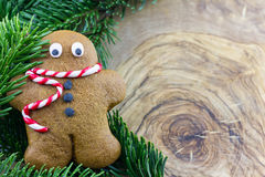 Gingerbread man with pine branches Stock Photos