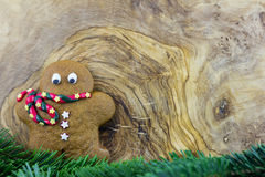 Gingerbread man with pine branches Royalty Free Stock Images