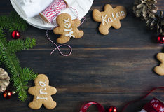 Gingerbread man. Place card cookies Royalty Free Stock Image
