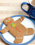Gingerbread Man on a Plate Stock Photo