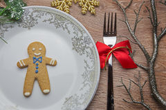 Gingerbread man on the plate Royalty Free Stock Photography