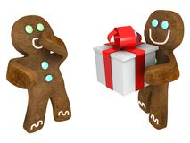 Gingerbread man present. Gingerbread man giving present to friend Royalty Free Stock Images