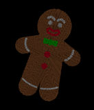 Gingerbread man radial dot pattern over black. Gingerbread man radial dot pattern on black background in the shape of a stylized human. Characteristic Christmas vector illustration